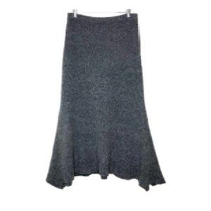 JJill Wool Sharkbite Hem Boucle Grey Skirt Merino